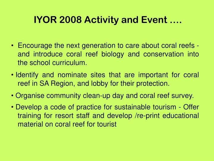 IYOR 2008 Activity and Event ….