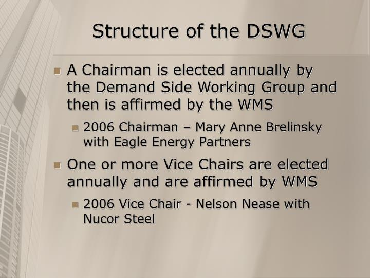 Structure of the DSWG