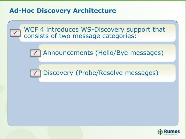 Ad-Hoc Discovery Architecture