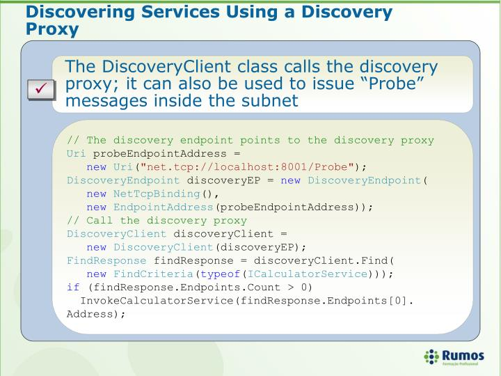 Discovering Services Using a Discovery Proxy