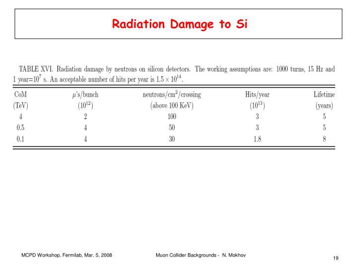 Radiation Damage to Si