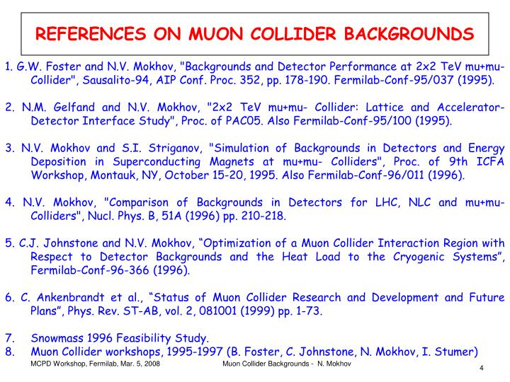 REFERENCES ON MUON COLLIDER BACKGROUNDS