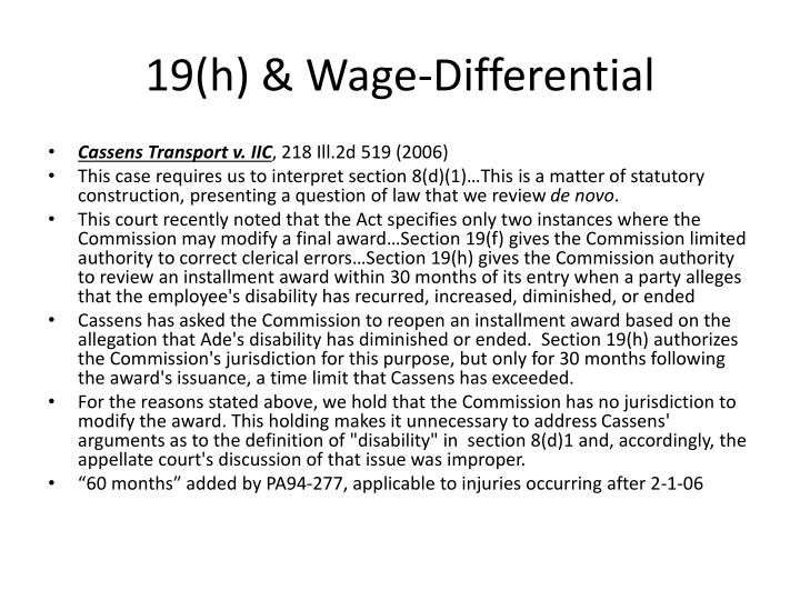 19(h) & Wage-Differential