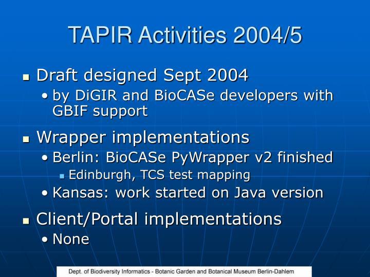 TAPIR Activities 2004/5