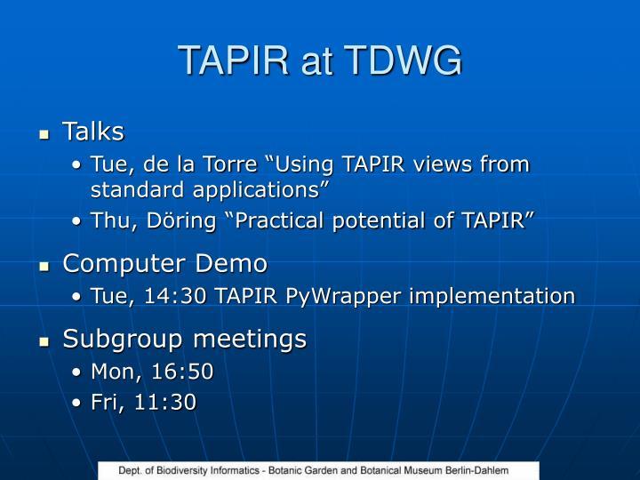 TAPIR at TDWG