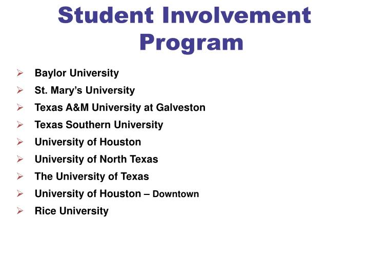 Student Involvement Program