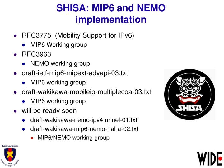 SHISA: MIP6 and NEMO implementation