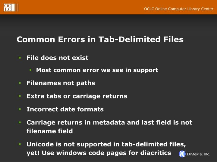 Common Errors in Tab-Delimited Files