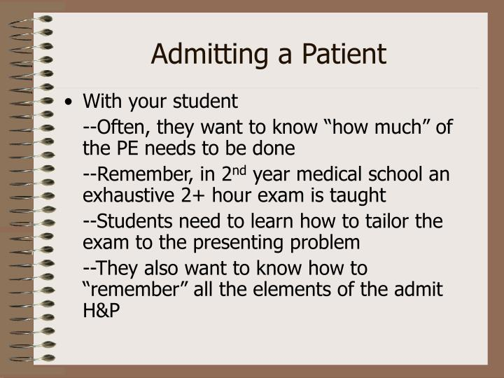 Admitting a Patient