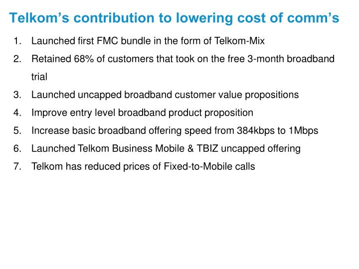 Telkom's contribution to lowering cost of