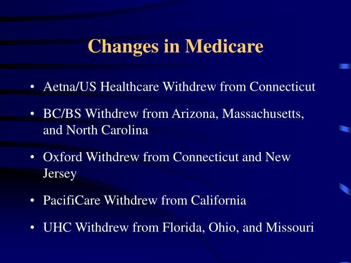 Changes in Medicare