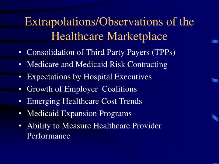 Extrapolations/Observations of the Healthcare Marketplace