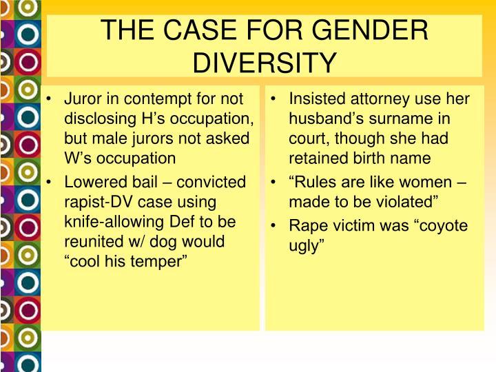 THE CASE FOR GENDER DIVERSITY