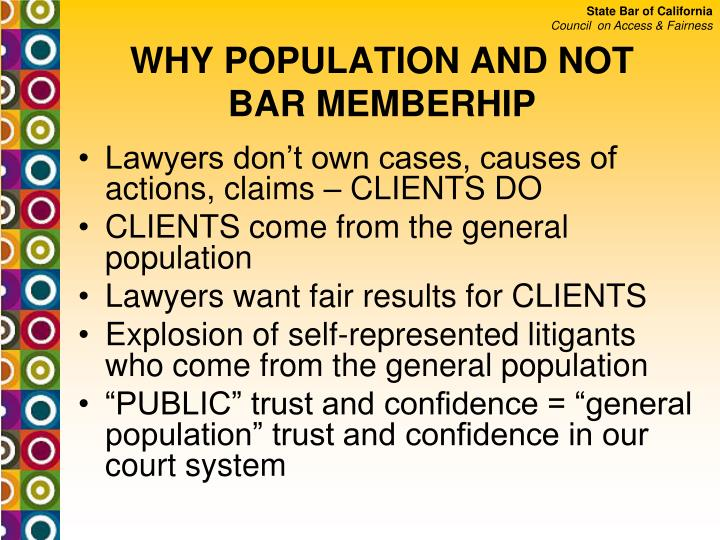 WHY POPULATION AND NOT BAR MEMBERHIP
