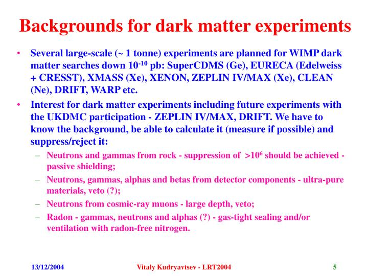 Backgrounds for dark matter experiments