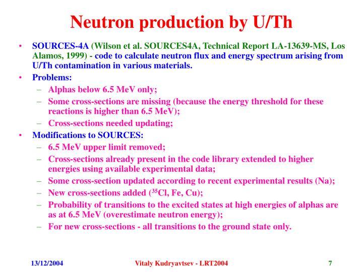 Neutron production by U/Th