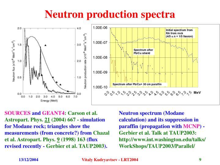 Neutron production spectra