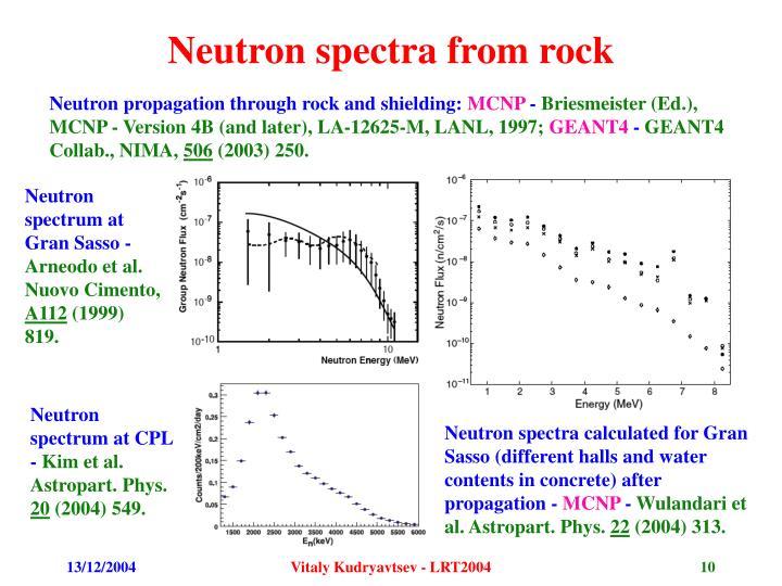 Neutron spectra from rock