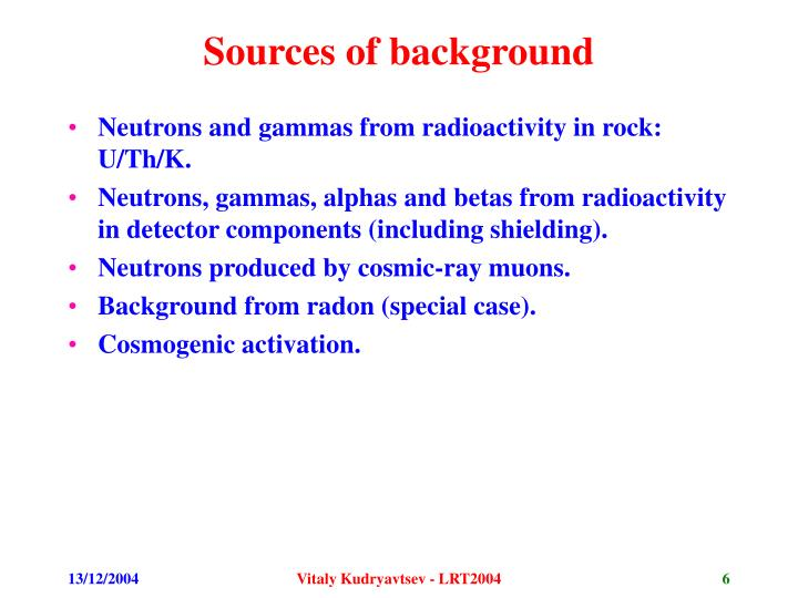 Sources of background