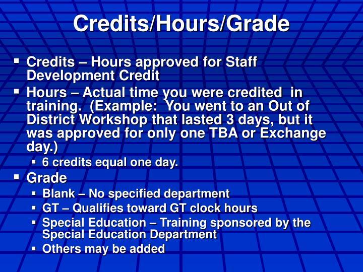 Credits/Hours/Grade