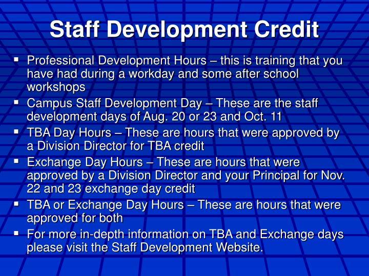 Staff Development Credit