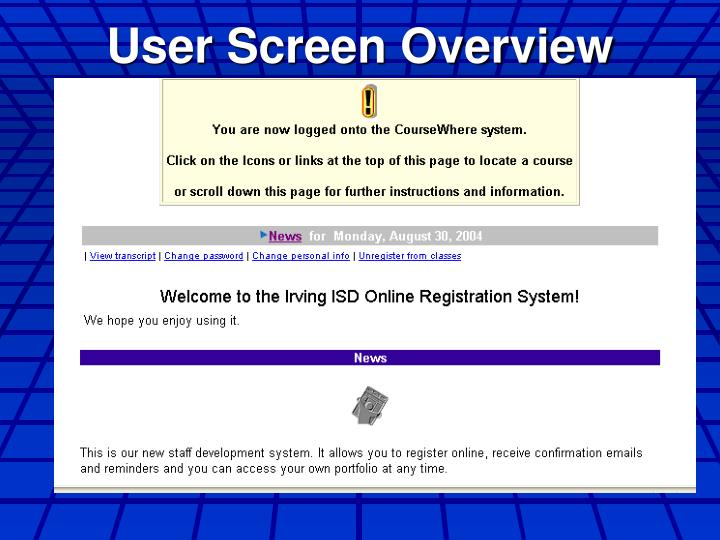 User Screen Overview