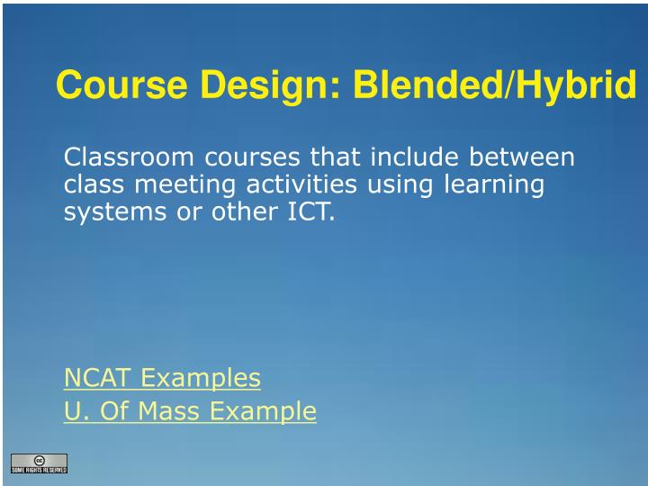 Course Design: Blended/Hybrid