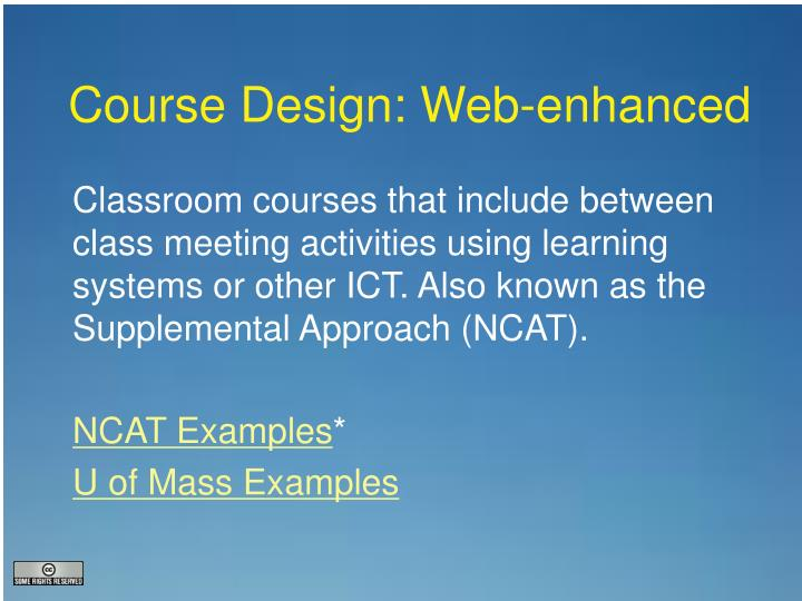 Course Design: Web-enhanced