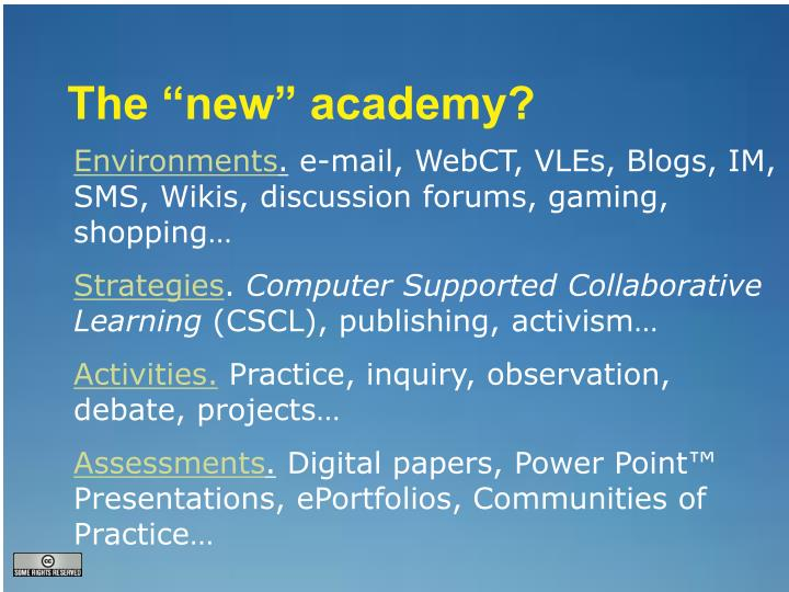 "The ""new"" academy?"