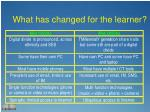 what has changed for the learner