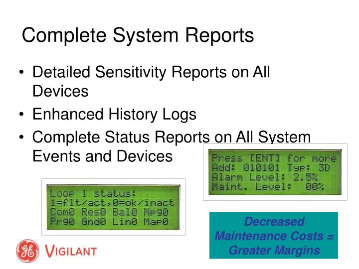 Detailed Sensitivity Reports on All Devices