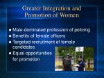 greater integration and promotion of women