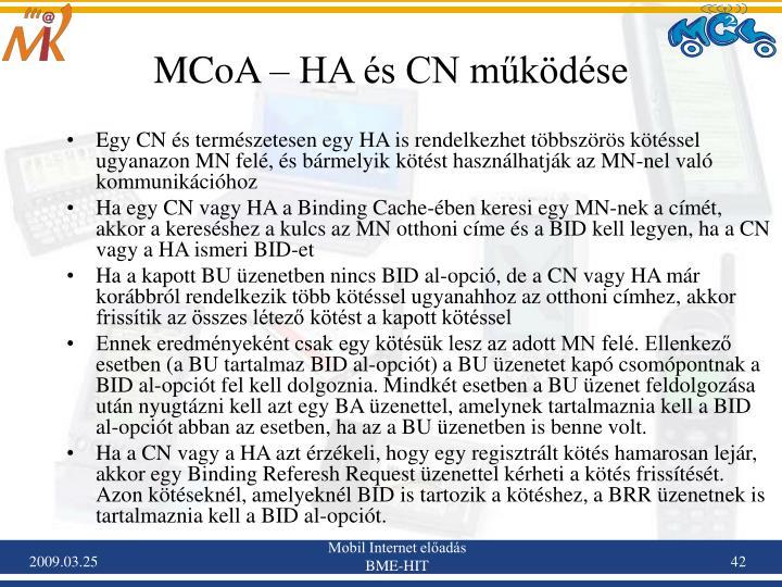 MCoA – HA és CN működése