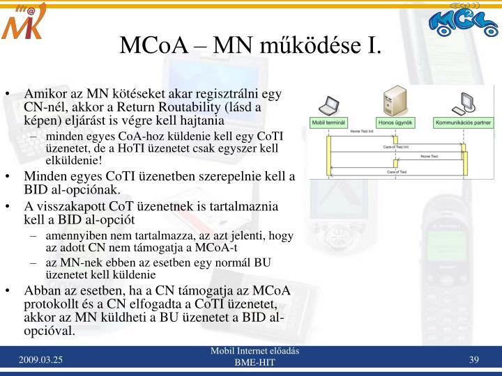 MCoA – MN működése I.
