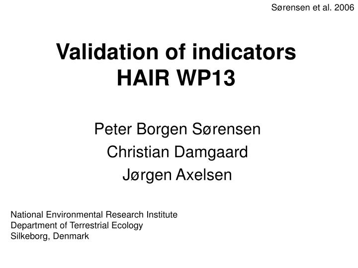 Validation of indicators hair wp13