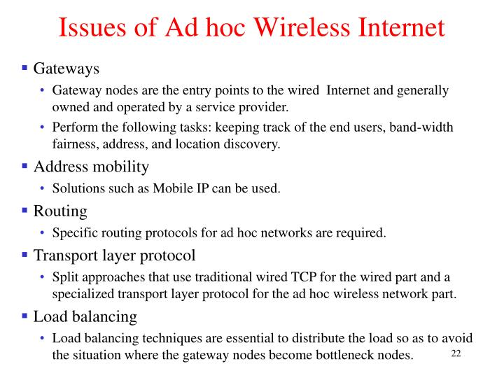 Issues of Ad hoc Wireless Internet