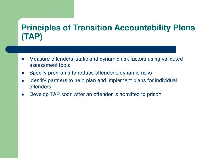 Principles of Transition Accountability Plans (TAP)