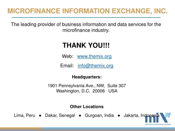 MICROFINANCE INFORMATION EXCHANGE, INC.