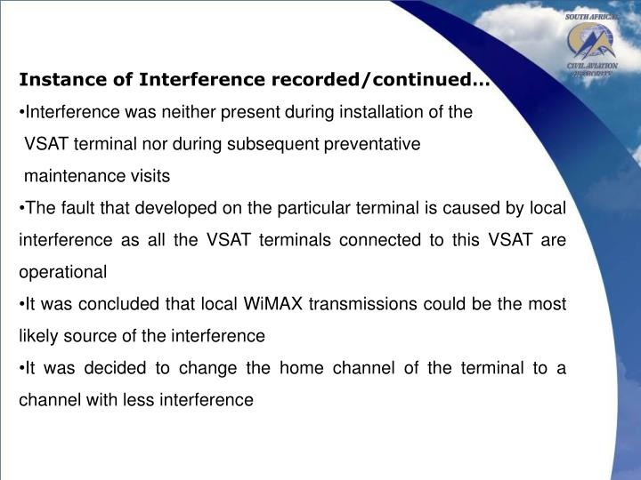 Instance of Interference recorded/continued…