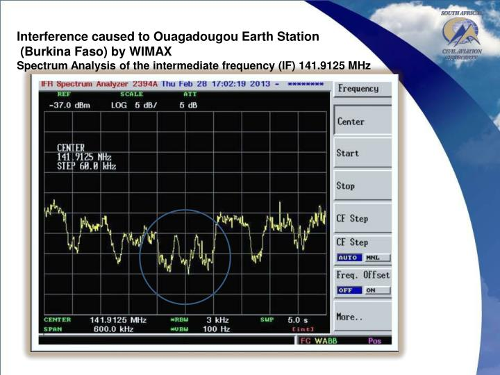 Interference caused to Ouagadougou Earth Station