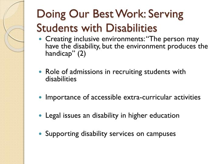 Doing Our Best Work: Serving Students with Disabilities