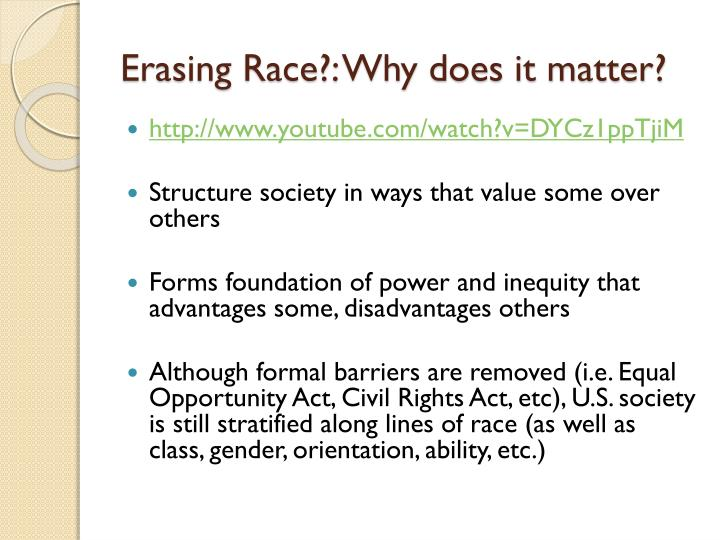 Erasing Race?: Why does it matter?