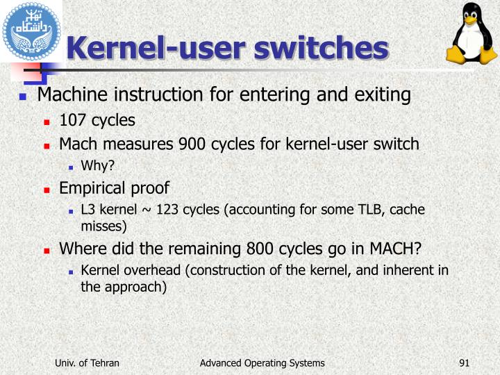 Kernel-user switches