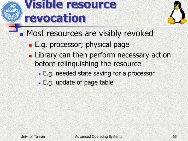 Visible resource revocation