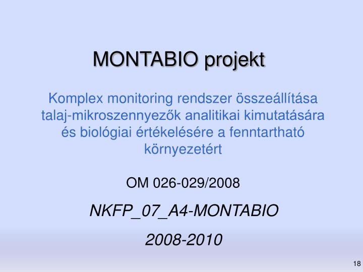 MONTABIO projekt