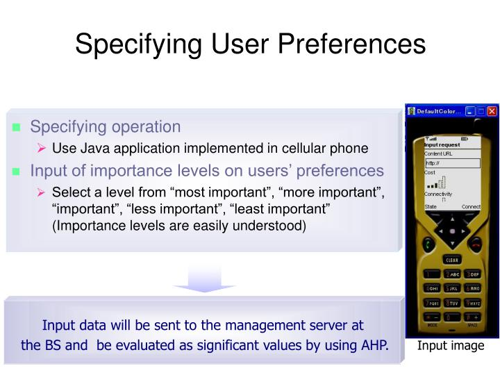 Specifying User Preferences