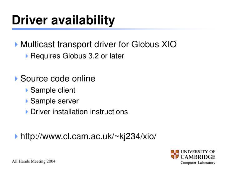 Driver availability