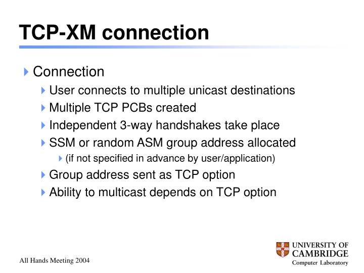 TCP-XM connection