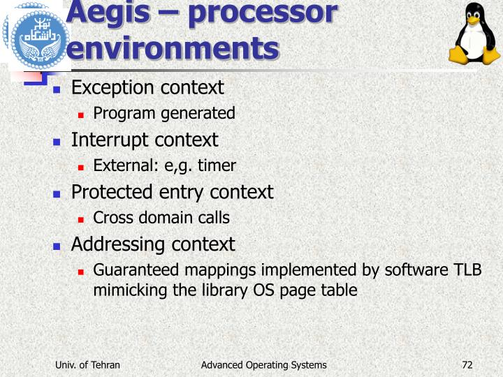 Aegis – processor environments