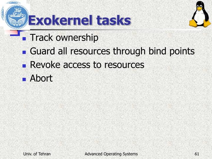 Exokernel tasks